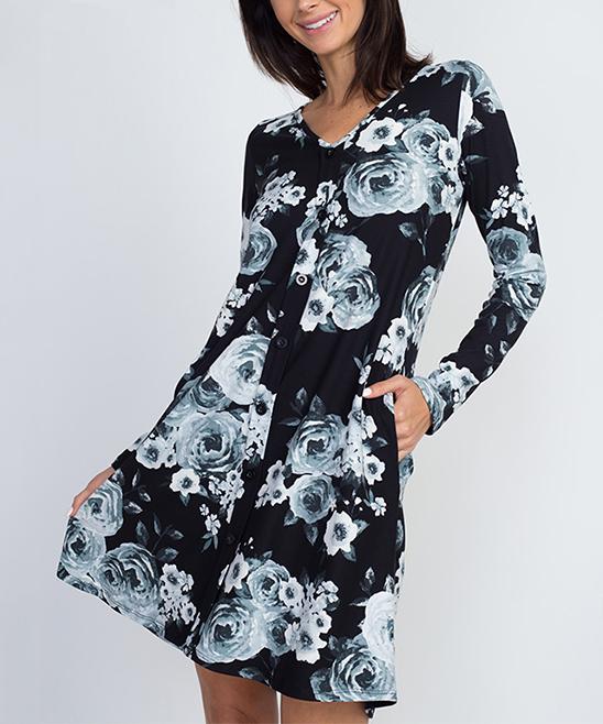 34c6cf39873a Eldridge Black Floral Button-Up Swing Dress - Women   Zulily