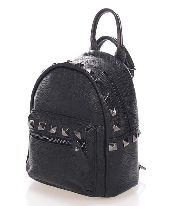 c4d8acbf85b Massimo Castelli Black Studded Leather Mini Backpack