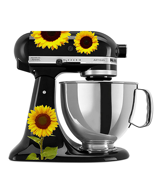 Watercolor Sunflowers Mixer Decal Set Watercolor Sunflowers Mixer Decal Set. Make your kitchen shine with the extra personality of these colorful decals designed to stick right along the surface of your mixer. Mixer not includedSheet: 11.5'' W x 9'' HAdhesive vinyl