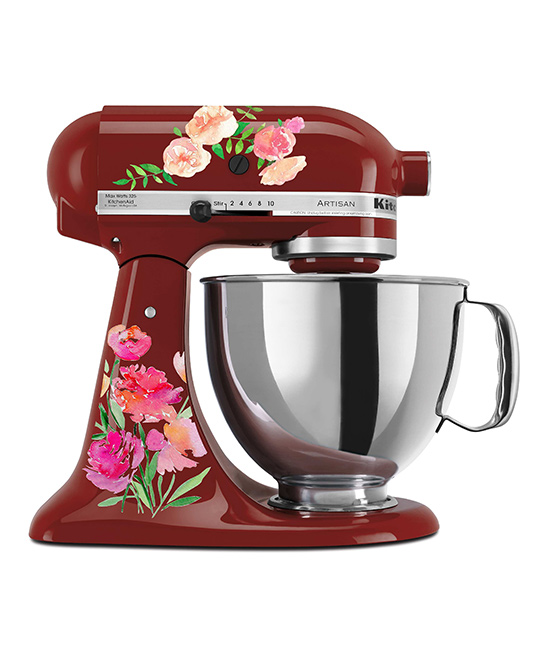 Watercolor Roses Mixer Decal Set Watercolor Roses Mixer Decal Set. Make your kitchen shine with the extra personality of these colorful decals designed to stick right along the surface of your mixer. Mixer not includedFits all mixersSheet: 11.5'' W x 9'' HAdhesive vinyl