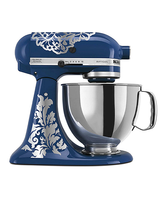 Silver Damask Mixer Decal Set Silver Damask Mixer Decal Set. Make your kitchen shine with the extra personality of these colorful decals designed to stick right along the surface of your mixer. Mixer not includedSheet: 11.5'' W x 9'' LAdhesive vinyl