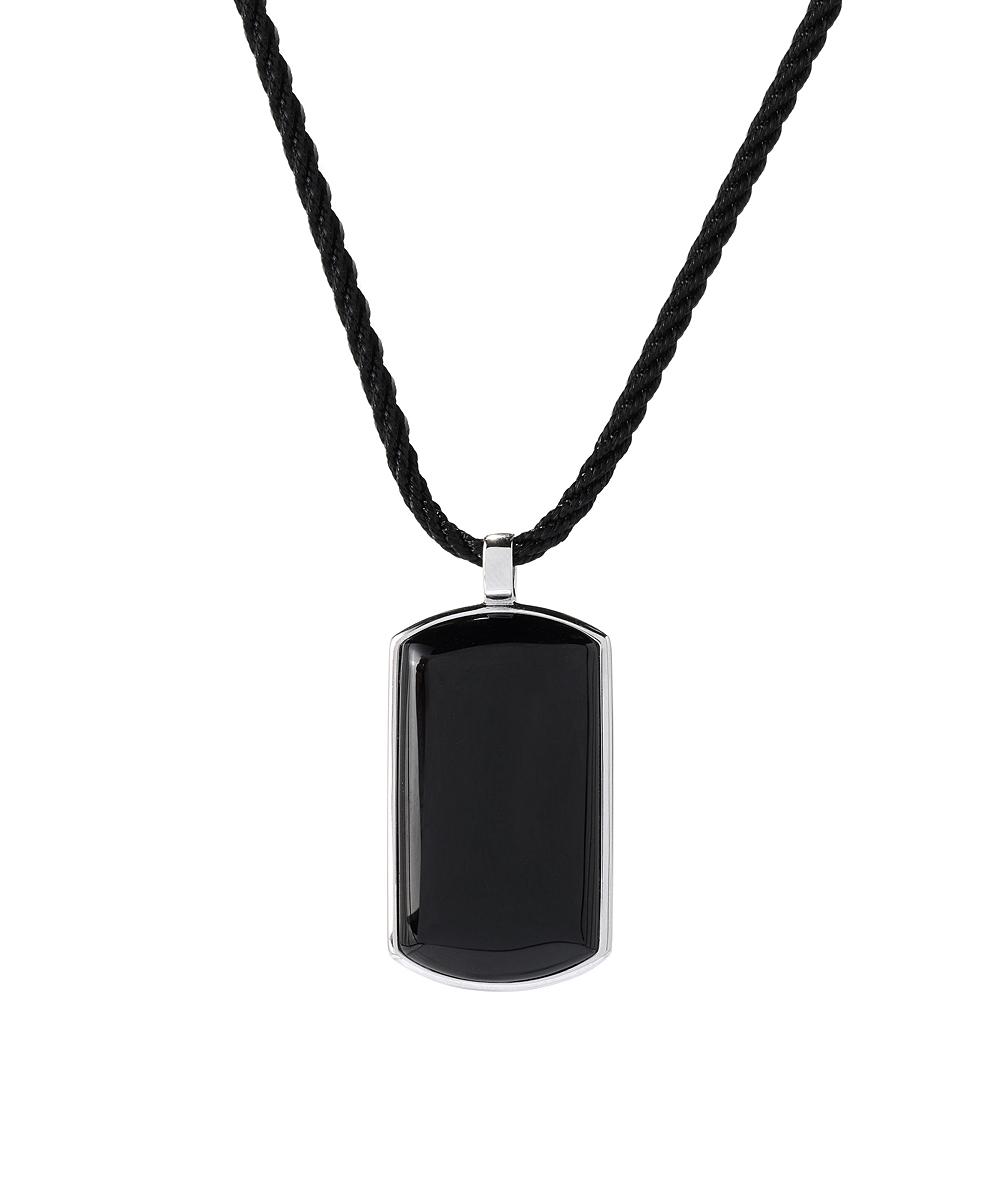 V3 Jewelry® Black Onyx   Sterling Silver Dog Tag Pendant Necklace ... 9a4927659