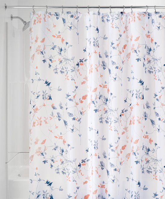 Idesign Navy Coral Twiggy Floral Shower Curtain Zulily