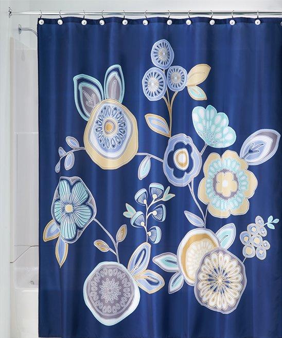 IDesign Navy Garden Floral Shower Curtain