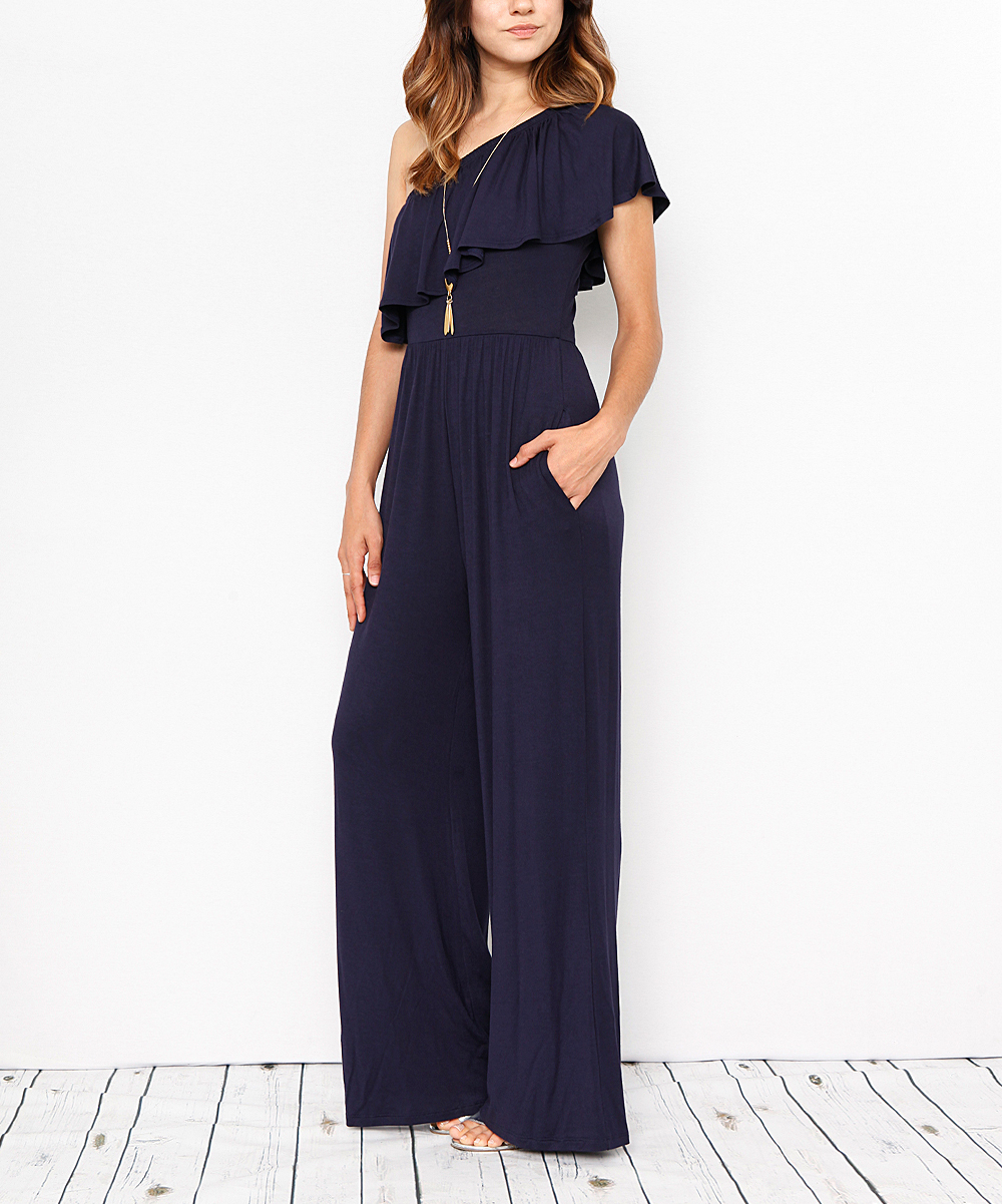 07057f53db31 love this product Navy One-Shoulder Ruffle Jumpsuit - Women   Plus