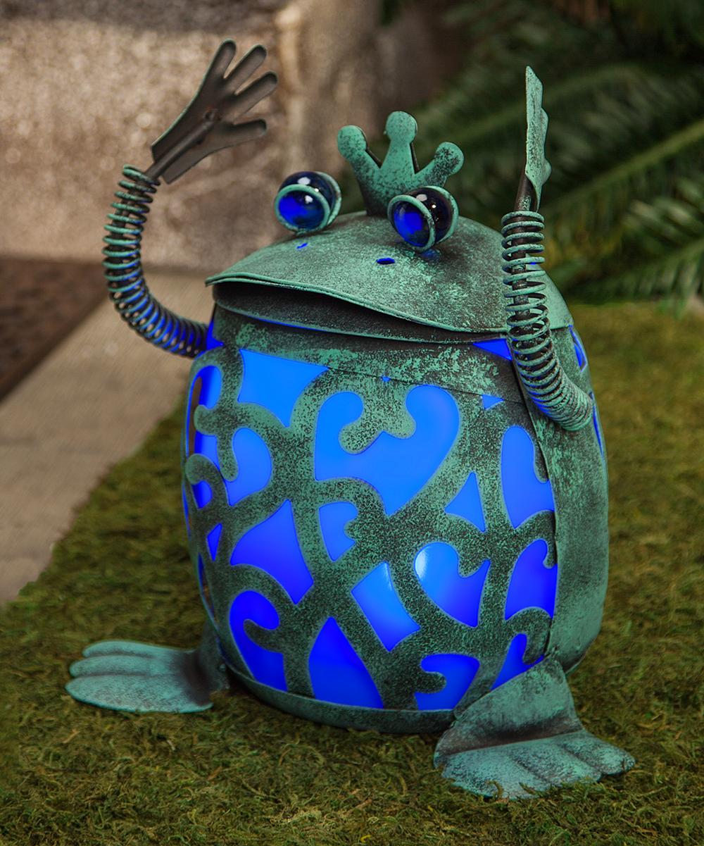 All Gone Blue Solar Lighted Frog Prince Figurine