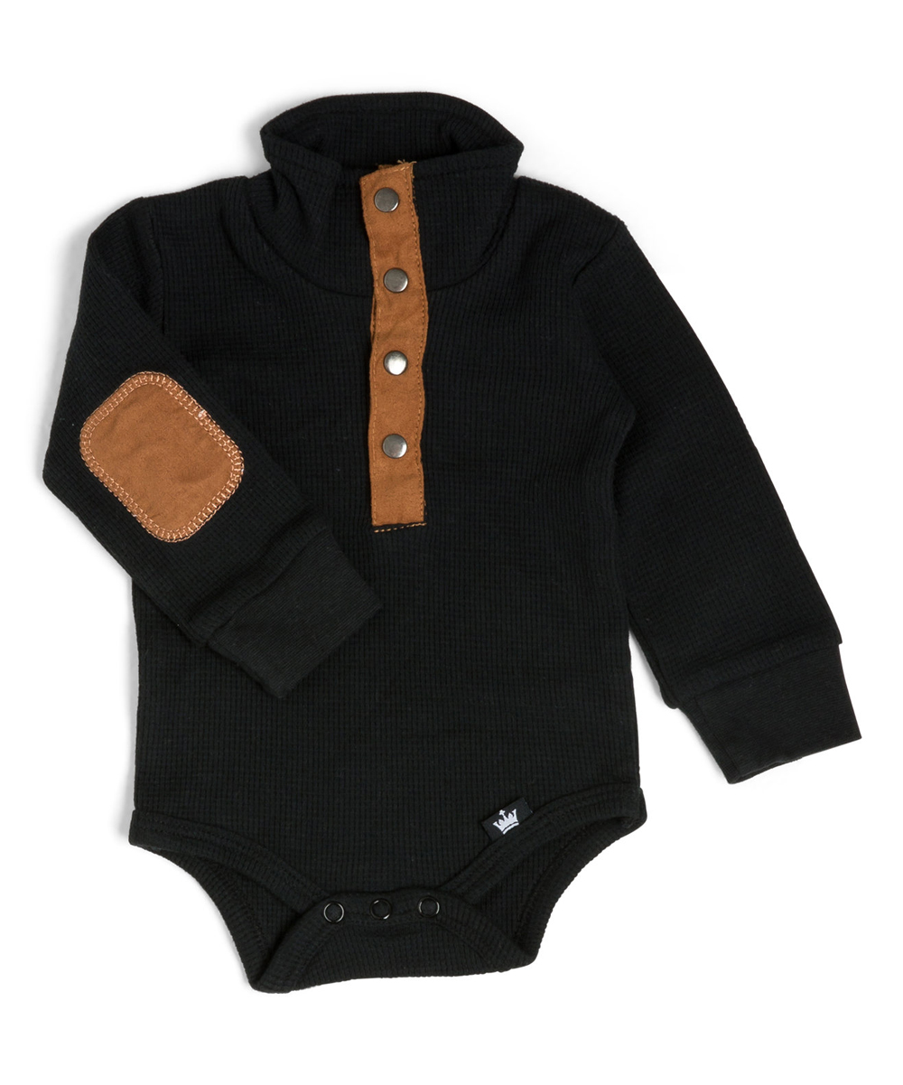 664c9385d187 Littlest Prince Couture Black Thermal Elbow-Patch Henley Bodysuit ...