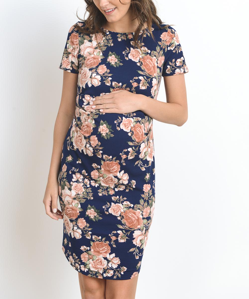 Hello Miz Maternity Navy Blush Floral Maternity Bodycon Dress Zulily