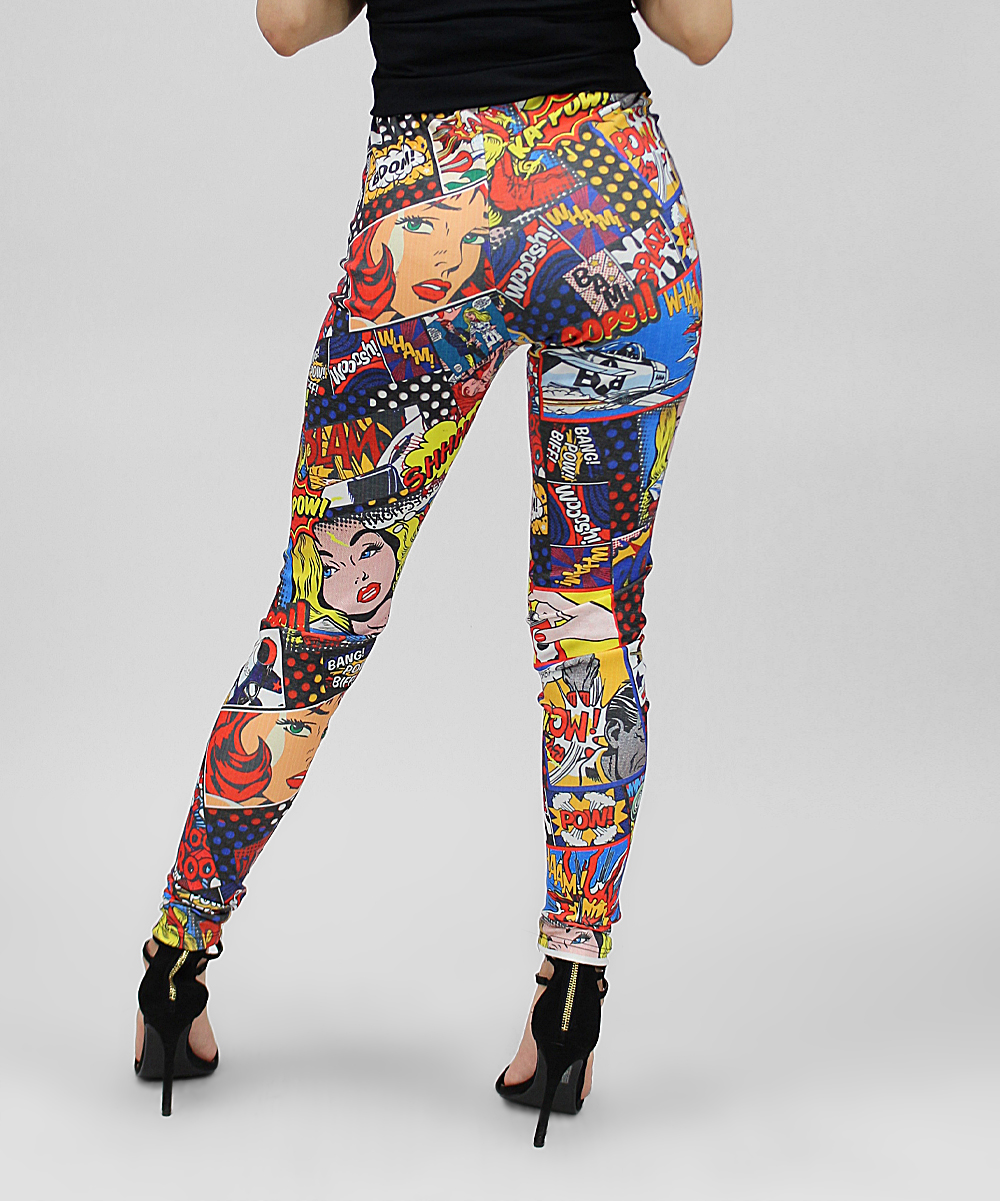 03f7413b1ac8f6 Casa Lee Blue & Red Pow! Pop Art Comic Book Leggings - Women | Zulily