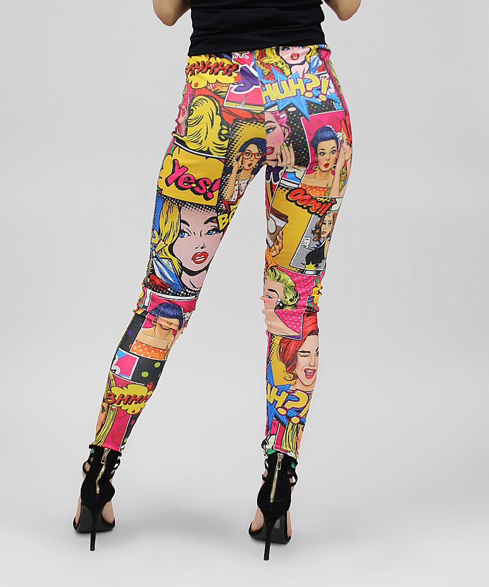 2930789fcec637 Casa Lee Pink & Yellow Yes! Pop Art Comic Book Leggings - Women | Zulily