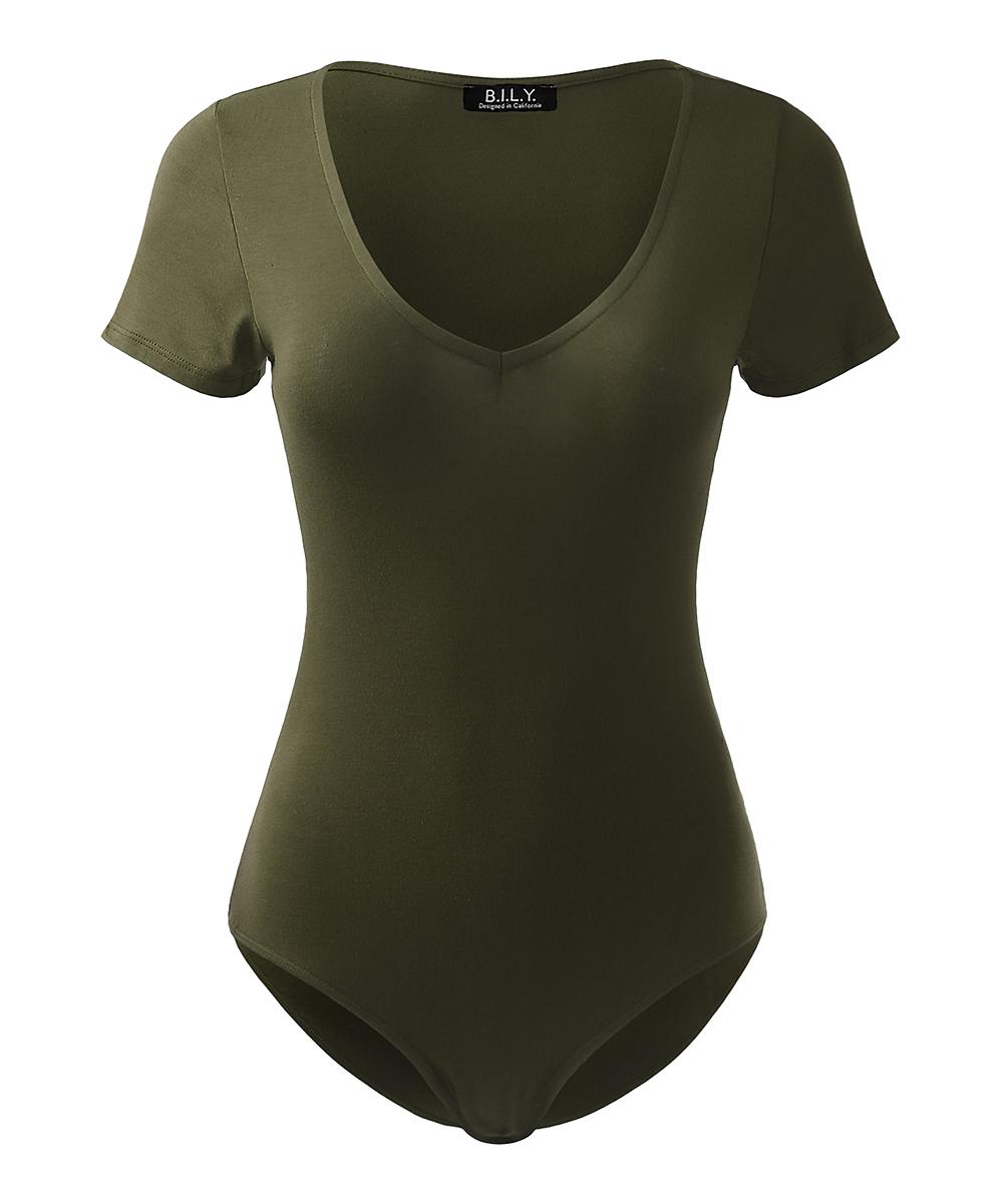 all gone. Olive V-Neck Bodysuit - Women 02e8b56745