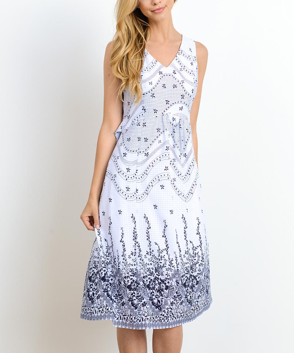Doe   Rae White Floral Midi Dress - Women  bdbf0cb153