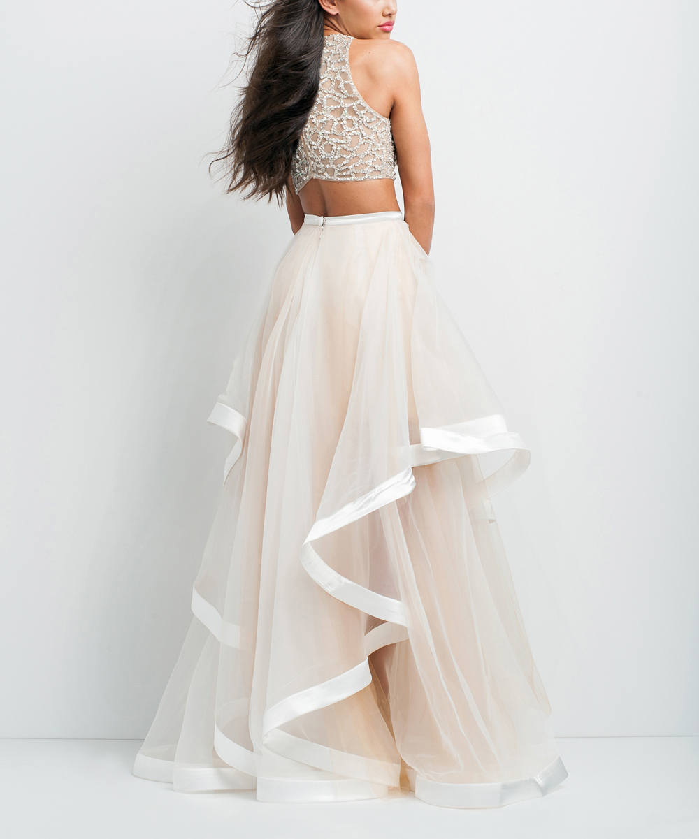 ff448bb4473 ... Womens White/Nude White & Nude Lace Crop Top & Sheer Maxi Skirt -  Alternate