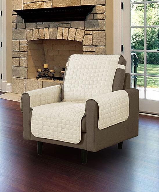 Linen Store  Indoor Furniture Covers BEIGE - Beige Microfiber Armchair Protector