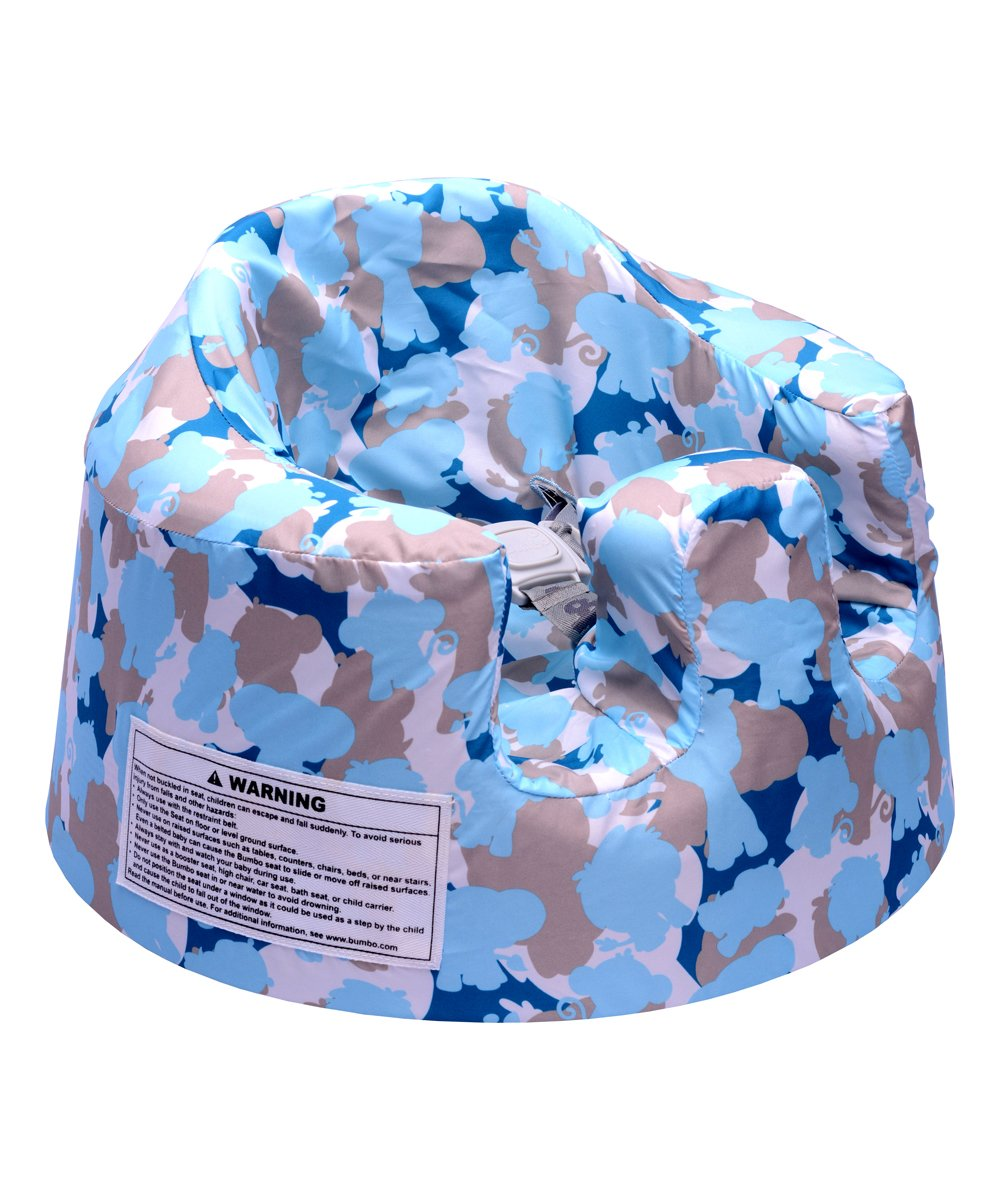 Blue Camo Floor Seat Cover Blue Camo Floor Seat Cover. Change up the look of your Bumbo Floor Seat with this cover made from durable, breathable fabric in a decorative print. 9'' H x 15'' diameterNylonMachine wash; tumble dryImported