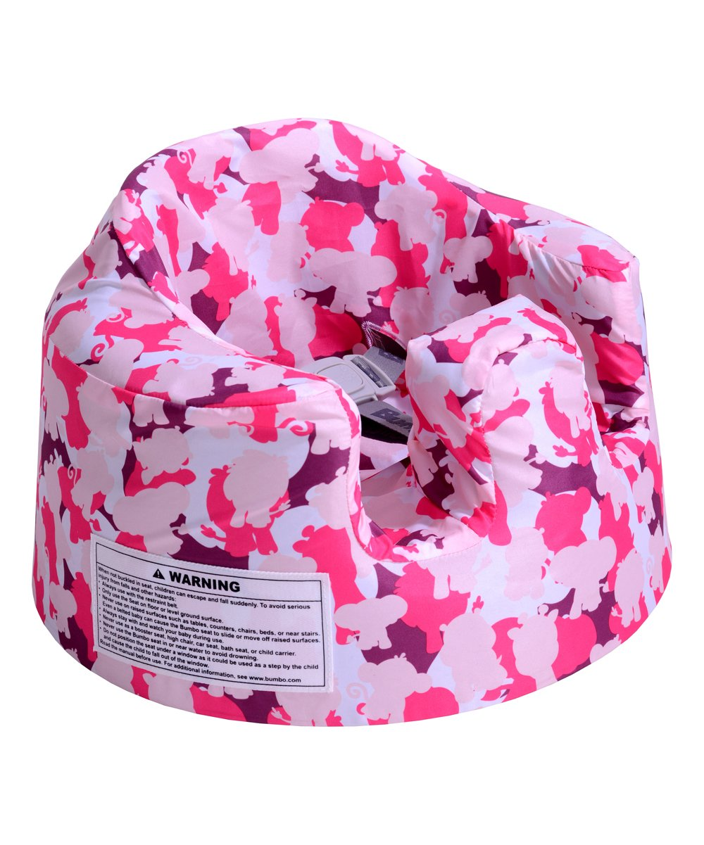 Pink Camo Floor Seat Cover Pink Camo Floor Seat Cover. Change up the look of your Bumbo Floor Seat with this cover made from durable, breathable fabric in a decorative print. 9'' H x 15'' diameterNylonMachine wash; tumble dryImported