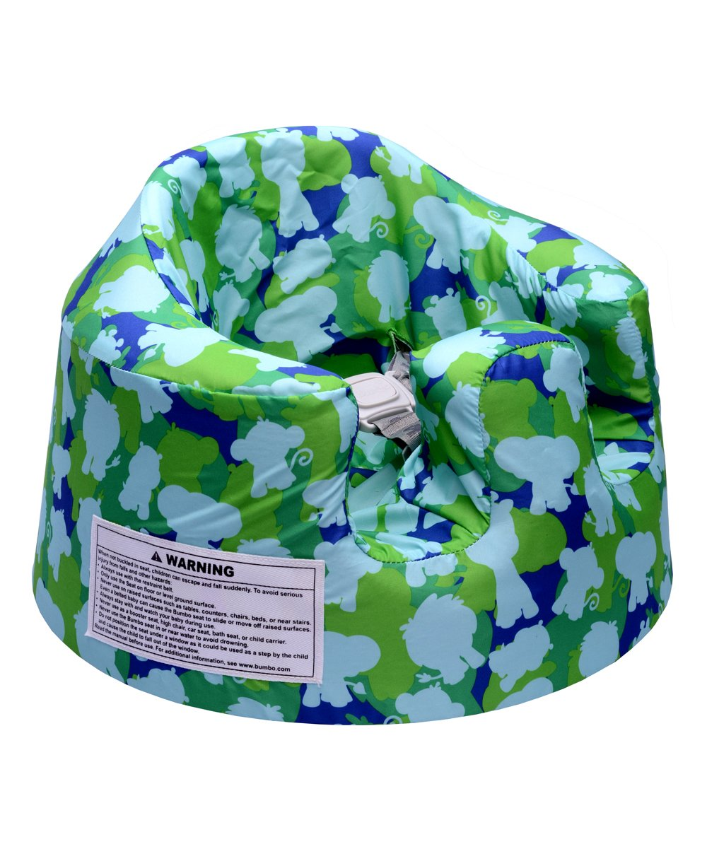 Green Camo Floor Seat Cover Green Camo Floor Seat Cover. Change up the look of your Bumbo Floor Seat with this cover made from durable, breathable fabric in a decorative print. 9'' H x 15'' diameterNylonMachine wash; tumble dryImported