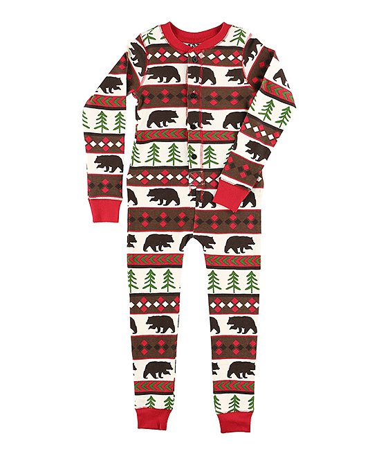 35b93f6eb Lazy One Red   Brown Bear Flapjack Pajamas - Kids