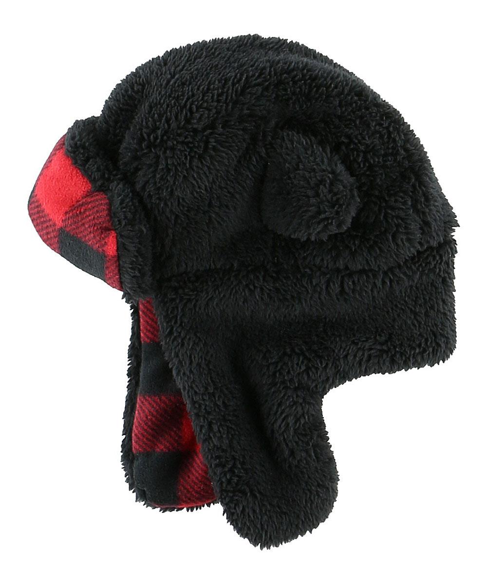 b6b18789 Lazy One Black & Red Bear Earflap Hat - Infant