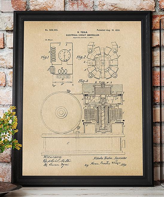 1896 Tesla Circuit Controller 1896 Patent Print