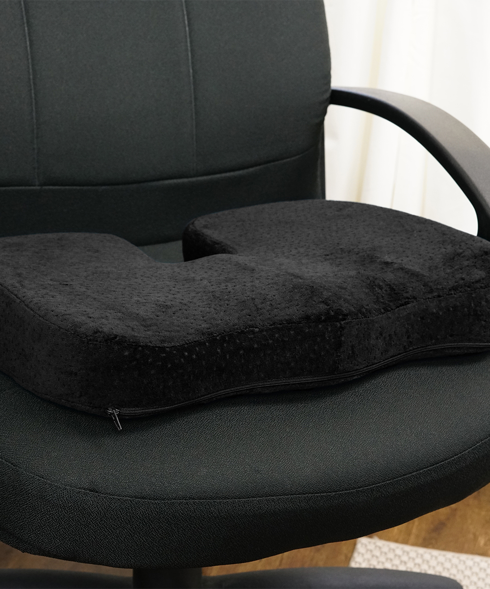 Aurora Health & Beauty  Light Therapy Products Black - Black Memory Foam Coccyx Seat Cushion