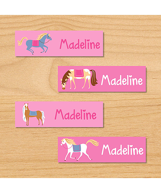 Horses Mini Waterproof Label - Set of 80 Horses Mini Waterproof Label - Set of 80. Keep track of clothing, lunch boxes and more with this set of personalized labels boasting a waterproof design. Includes 80 labels (designs include: Dark brown horse, tan/white horse, tan horse, gray horse, and white horse.)Full graphic text: personalized nameLabel: 1.75'' W x 0.5'' HWeatherproof paperMicrowave- and dishwasher-safeShipping note: This item will be personalized just for you. Allow extra time for your special find to ship.