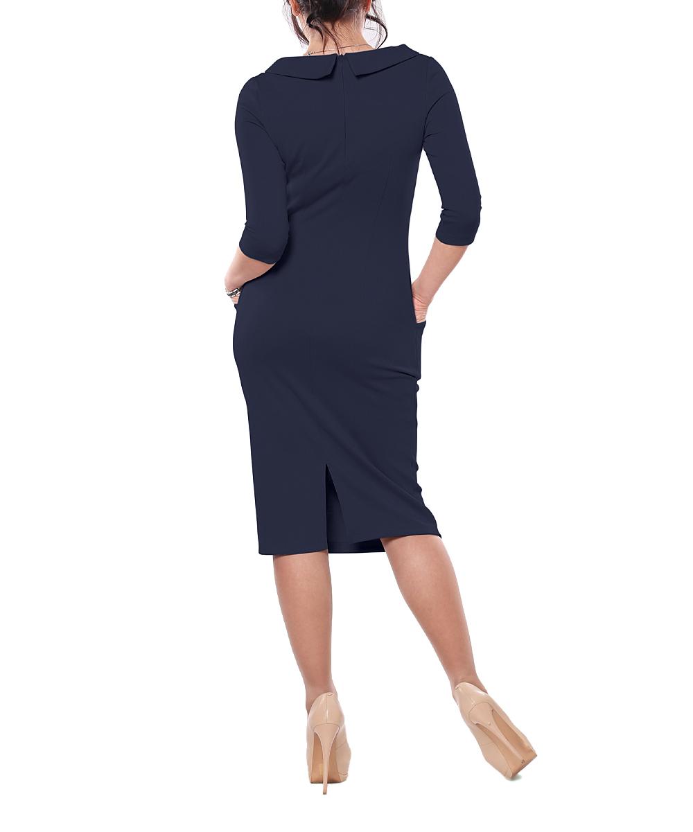 dbdce1f8 Laura Bettini Navy Pocket Boatneck Sheath Dress - Women | Zulily