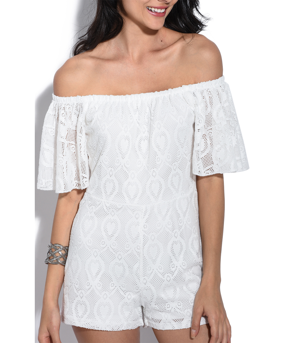73411e61c67 love this product White Lace Off-Shoulder Romper