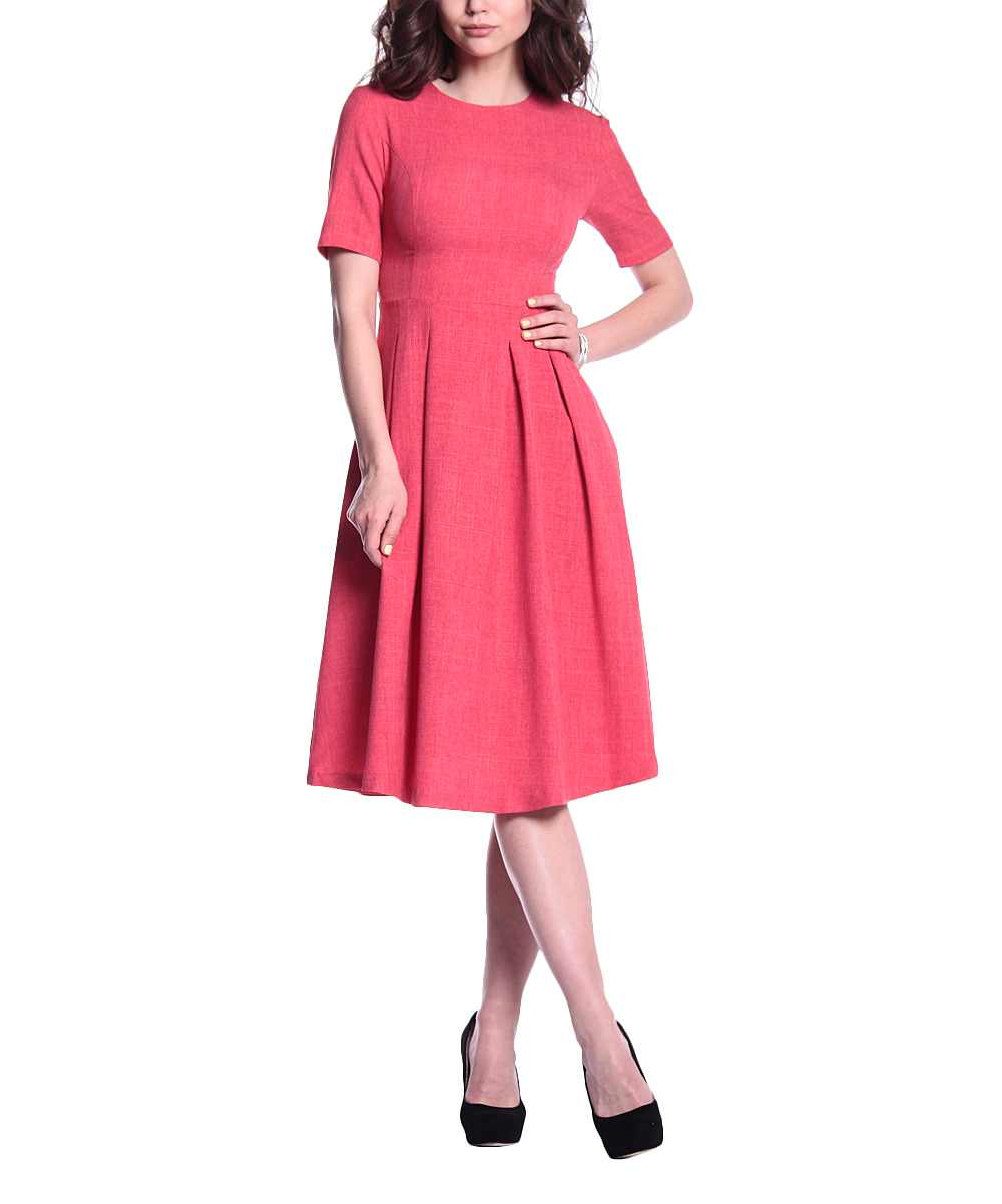 adb6e8e1d7a5 all gone. Red Coral Linen-Blend Short-Sleeve Fit & Flare Dress - Women