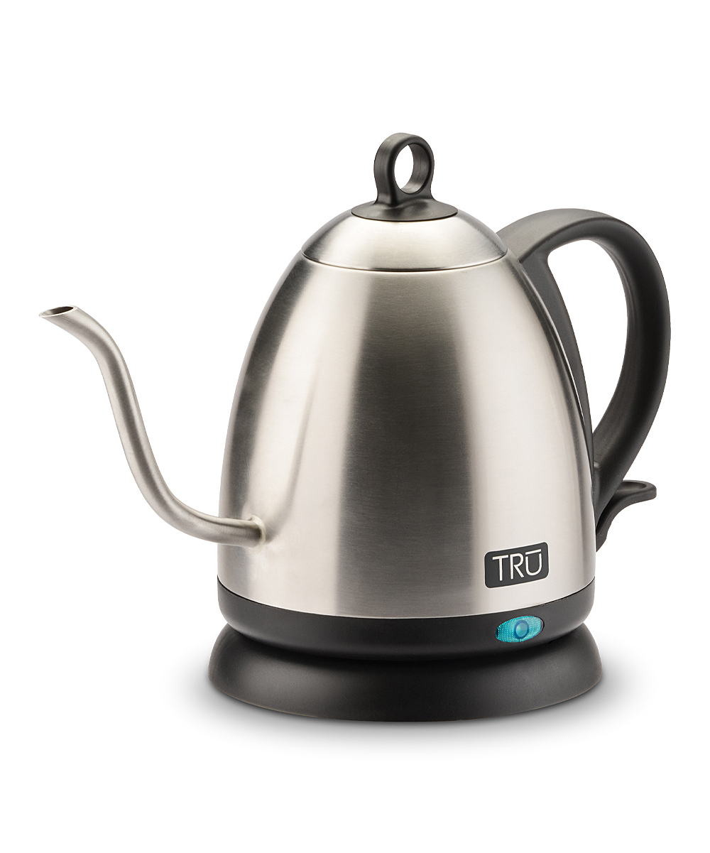 TRU Men's Electric Kettles  - Stainless Steel Electric Kettle Stainless Steel Electric Kettle. Heat water off the stove with this sleek electric kettle boasting a quick boil time, auto shut-off and an elegant gooseneck spout for controlled pouring.6.3'' W x 10.04'' H x 6.9'' DHolds 1 LStainless steel1,000 wattsAuto shut-offSwivel baseHand washImported