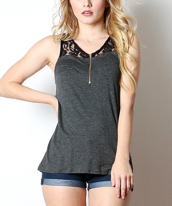 Pops Basic Women's Blouses CHARCOAL - Charcoal & Black Lace-Yoke Tank - Juniors