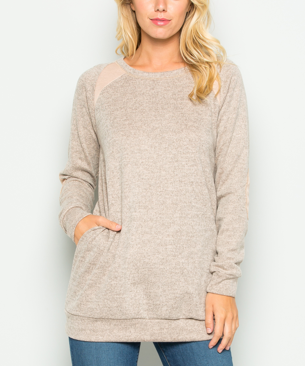 Acting Pro Oatmeal Elbow Patch Long Sleeve Sweater Women Zulily