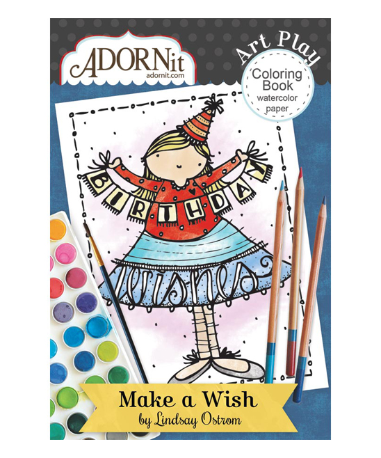 ADORNit Make a Wish Mini Watercolor Coloring Book