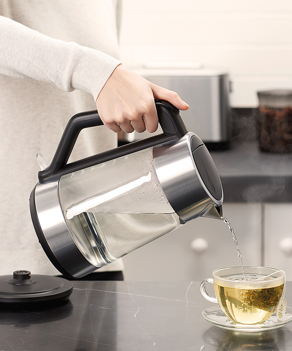 OXO  Electric Kettles  - Brew Cordless Glass Electric Kettle Brew Cordless Glass Electric Kettle. This convenient kettle stays cool to the touch while brewing a pure cup of coffee or satisfying mug of tea. 9'' W x 11.2'' H x 6.2'' DHolds 1.75 LGlassHand washImported