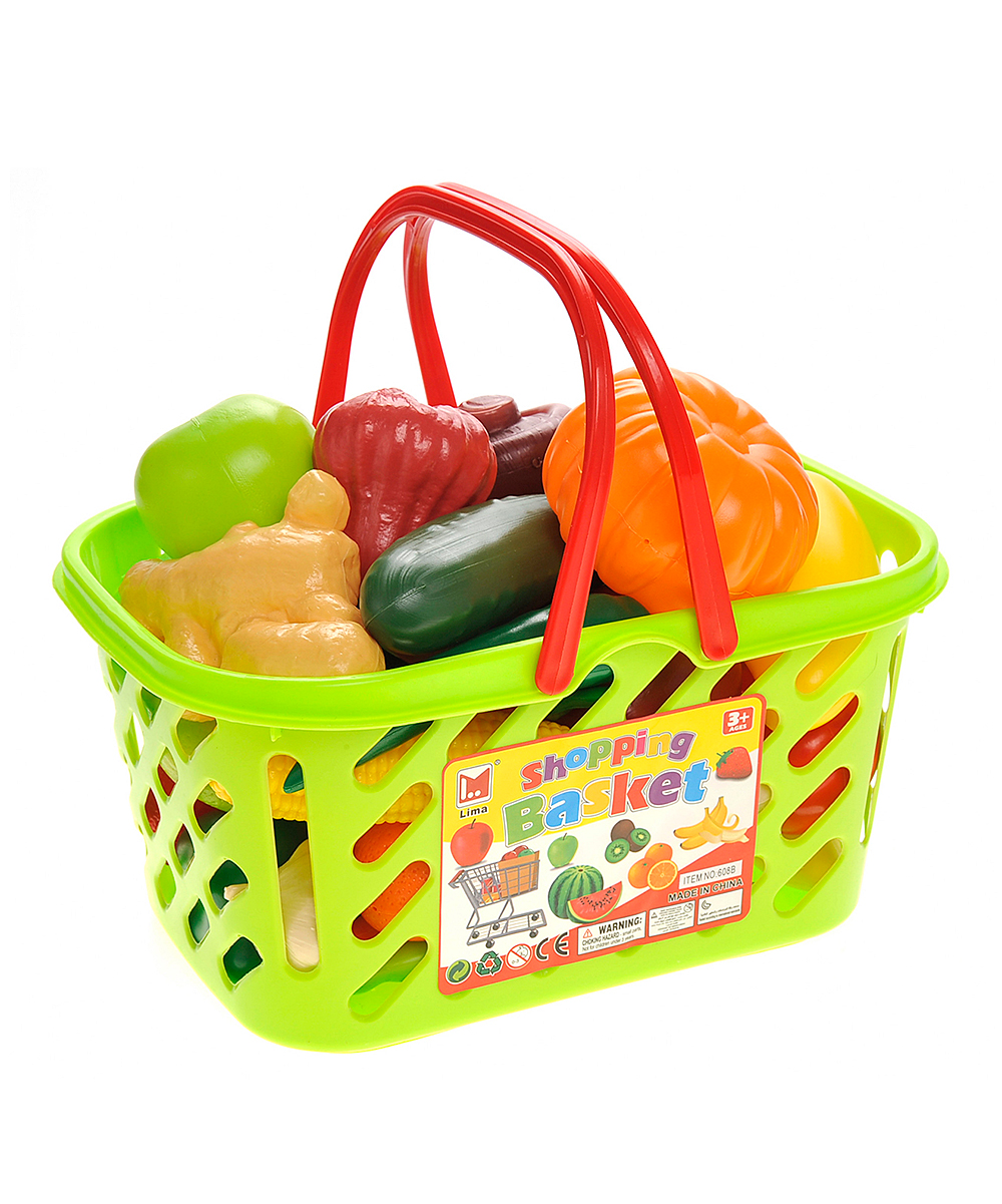 AZ Trading and Import  Play Food  - Fruits & Vegetables Shopping Basket Grocery Play Food Set Fruits & Vegetables Shopping Basket Grocery Play Food Set. Little ones can pretend they're shopping for fresh produce with this vibrant grocery basket full of lifelike fruits and veggies.Includes 38 life-size fruits and veggie play-food piecesBasket: 12.5'' W x 8.5'' H x 6'' DPlasticRecommended for ages 3 years and upImported