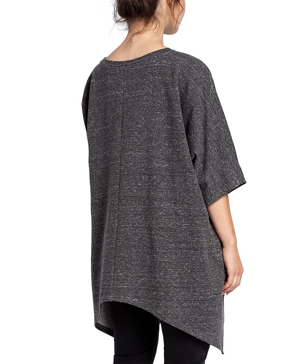 95a2cf0a030 ... Womens graphite Graphite Asymmetrical Sidetail Tunic - Plus Too -  Alternate Image 3 ...