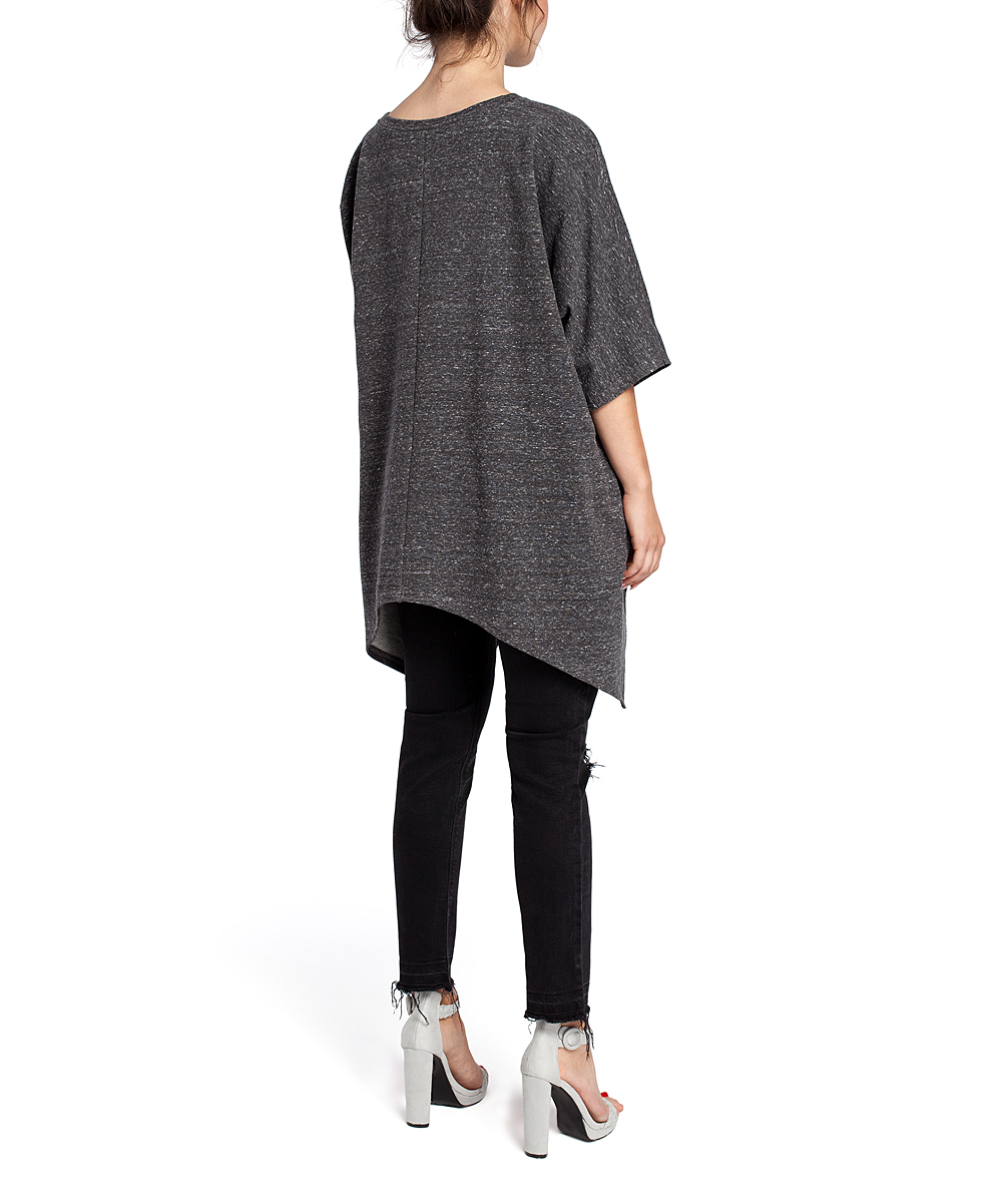 683ba96e85f ... Womens graphite Graphite Asymmetrical Sidetail Tunic - Plus Too -  Alternate Image 4