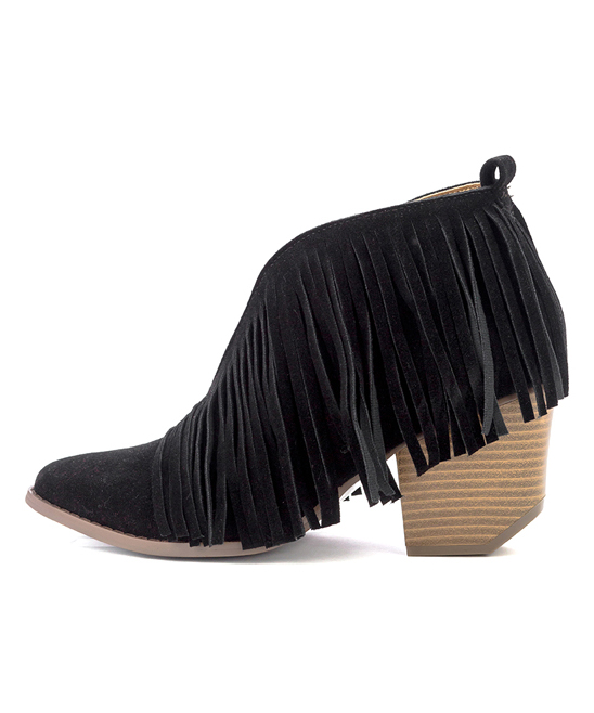 e6b33cf8f BEAST Black Fringe Carrie Ankle Boot - Women | Zulily