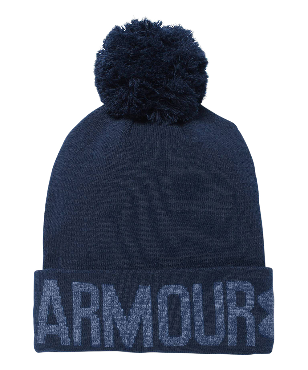 002528327f5 love this product Midnight Navy Graphic Pom-Pom Beanie