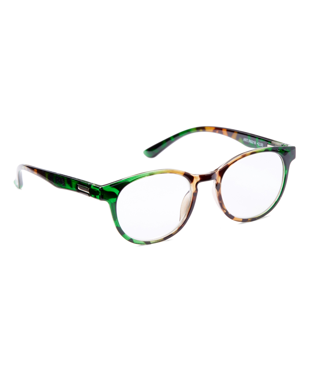 Fashion USA Women's Reading Glasses GREEN - Green & Brown Tortoise Square Readers