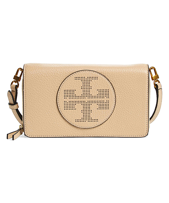 2d4aa750d54c Tory Burch Sand Dune Perforated Logo Flat Wallet Leather Crossbody ...