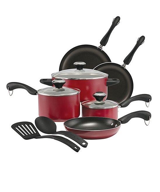 Paula Deen Cookware Sets Red - Red 11-Piece Nonstick Cookware Set