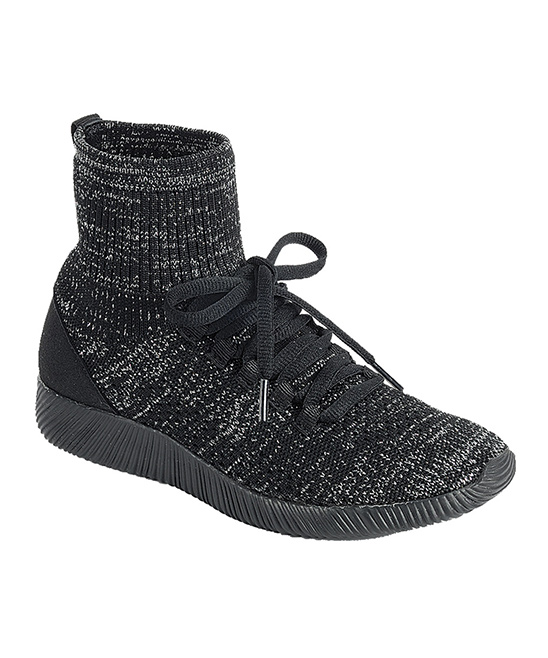 Forever Link Shoes Girls' Sneakers  - Black Yes Ribbed Hi-Top Sneaker