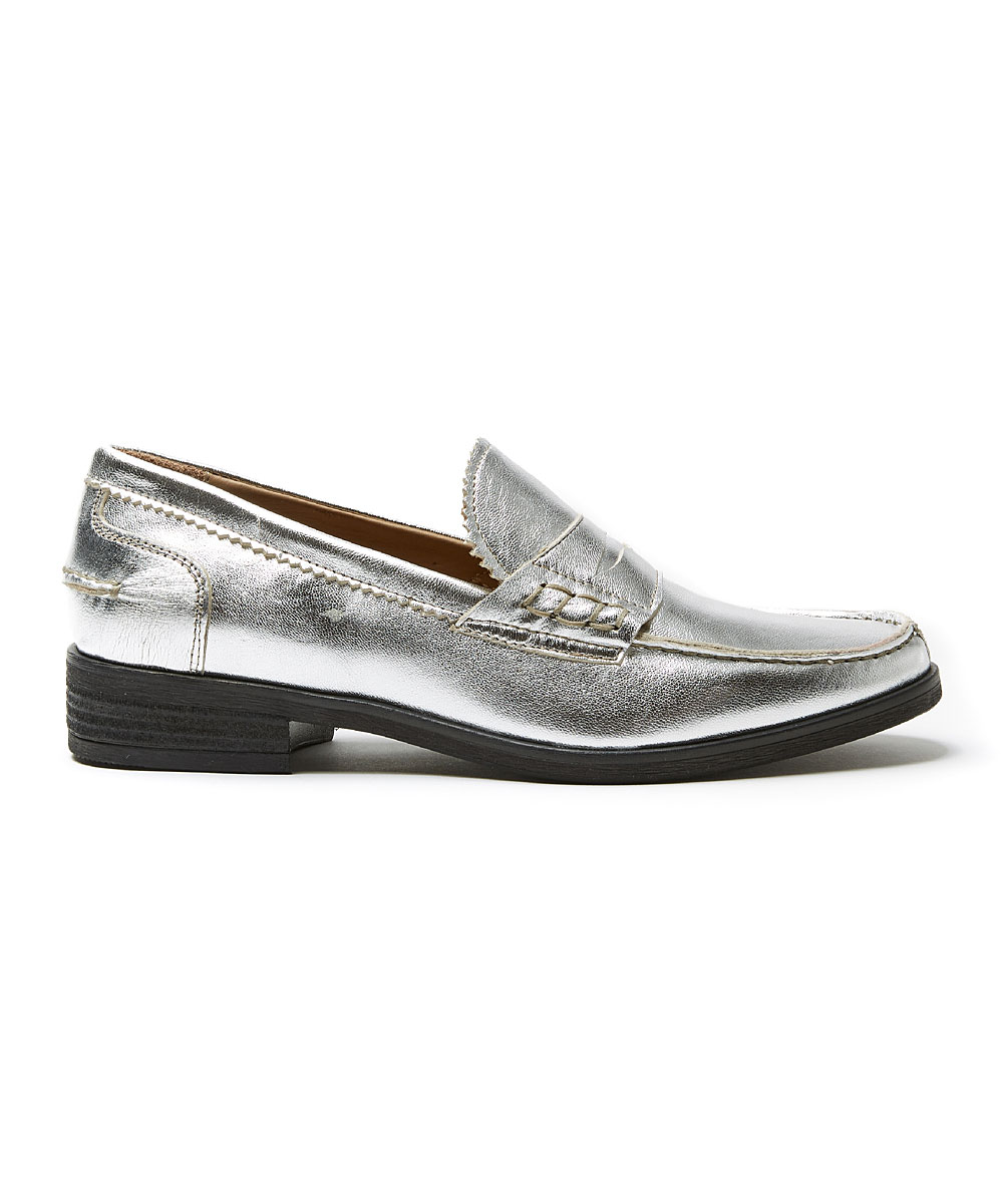 eac3f30df05 ... Womens SILVER Silver Leather Penny Loafer - Alternate Image 2 ...