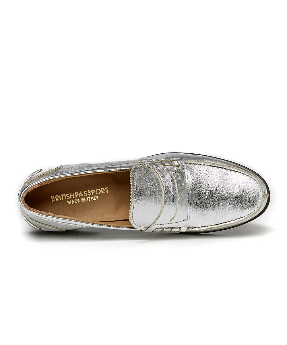 c0a04fa6094 ... Womens SILVER Silver Leather Penny Loafer - Alternate Image 3 ...