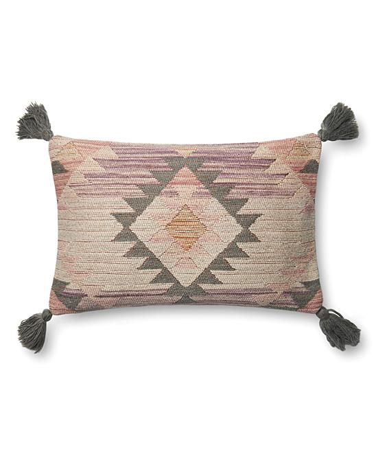 Loloi X Justina Blakeney  Throw Pillows Pink - Pink & Gray Geometric Tassel Lumbar Pillow