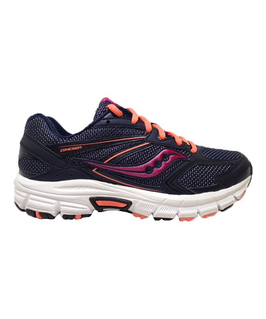 252094a3 Saucony Navy & Coral Grid Cohesion 9 Running Shoe - Women