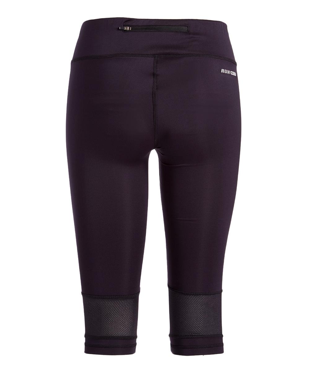 ... Womens Black Black Mesh-Accent Capri Leggings - Alternate Image 2 7ee2c56bcc6