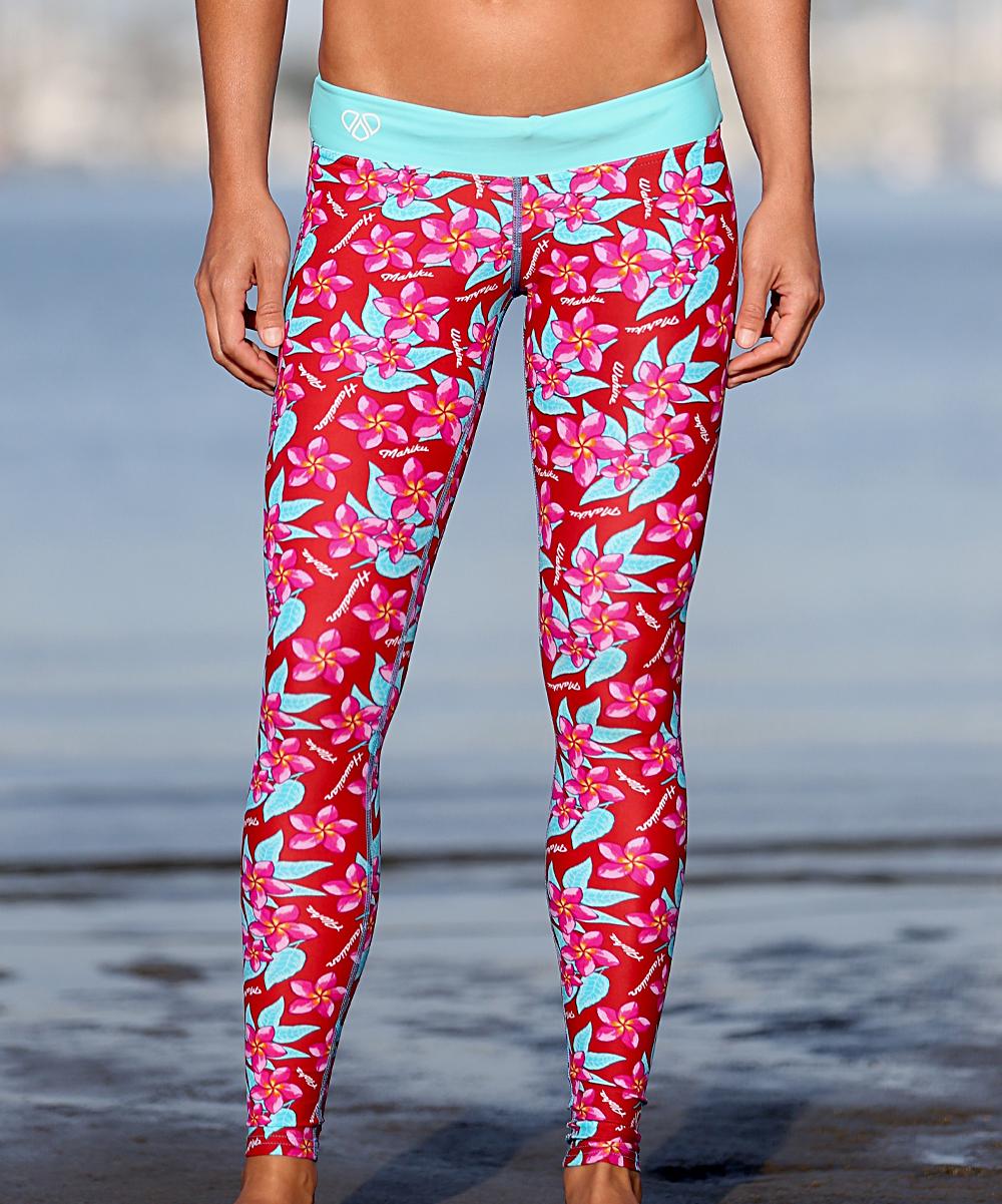 8da1d054a05da Mahiku Pink & Aqua Plumeria Low-Rise Leggings - Women | Zulily