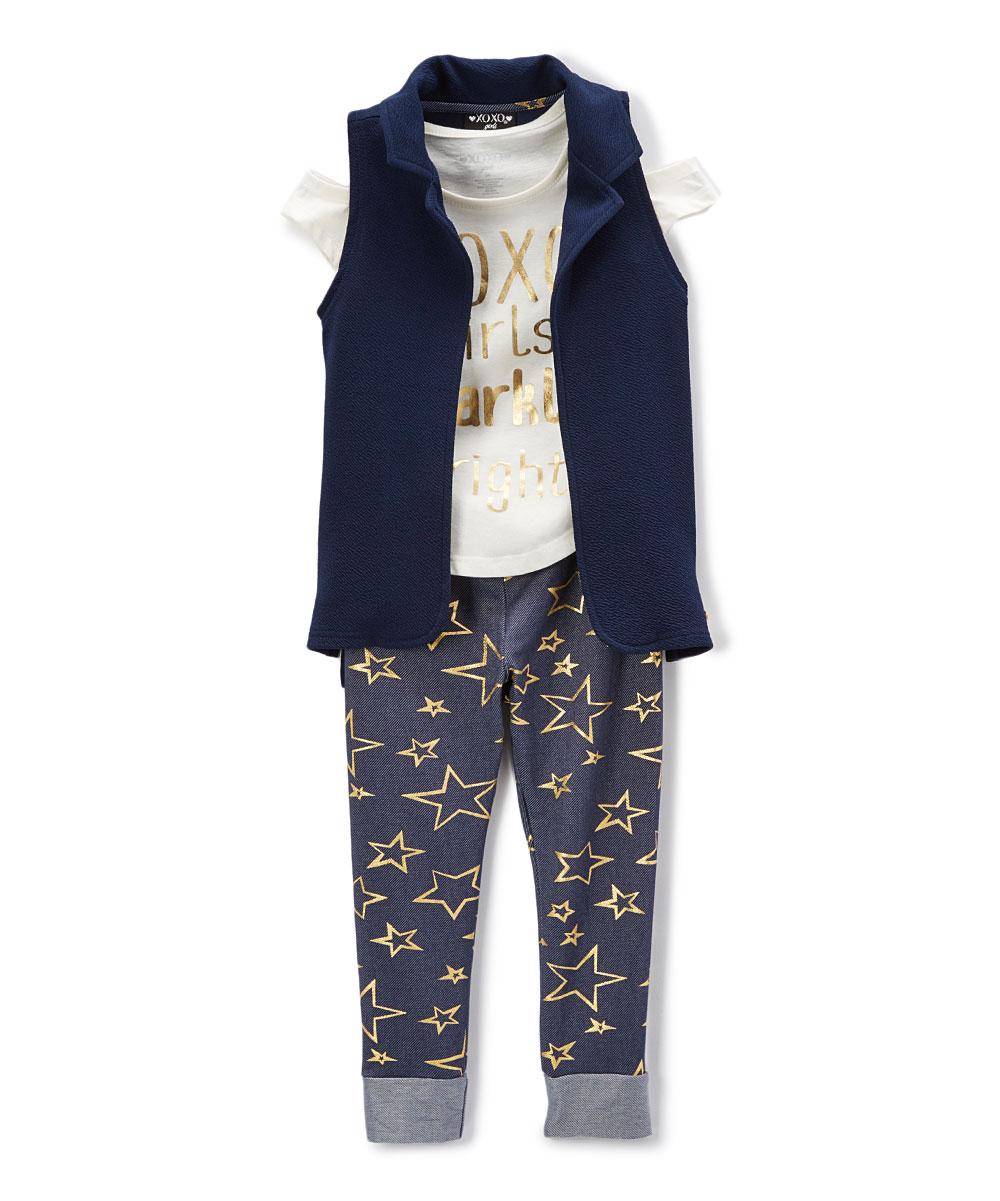62da71c6 love this product Ivory 'Girls Sparkle Bright' Cutout Tee Set - Girls